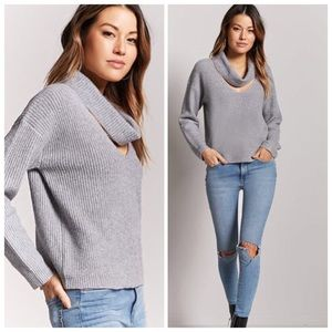 Forever 21 Ribbed Cutout Cowl Neck Sweater
